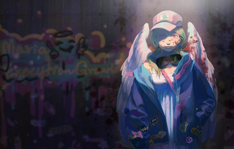 Photo wallpaper girl, night, lights, graffiti, angel
