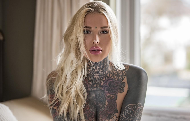 Photo wallpaper girl, tattoo, Jack Russell