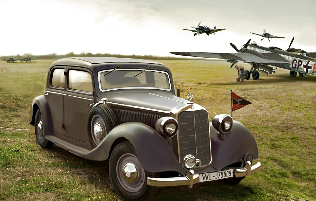 Photo wallpaper the airfield, Bf.109, Luftwaffe, Saloon, staff car, W142, Typ 320, He.177
