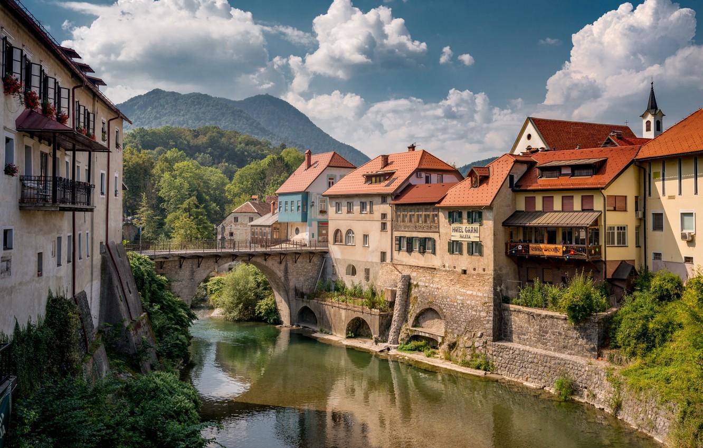 Photo wallpaper clouds, landscape, mountains, bridge, river, home, Slovenia, Селца-Сора