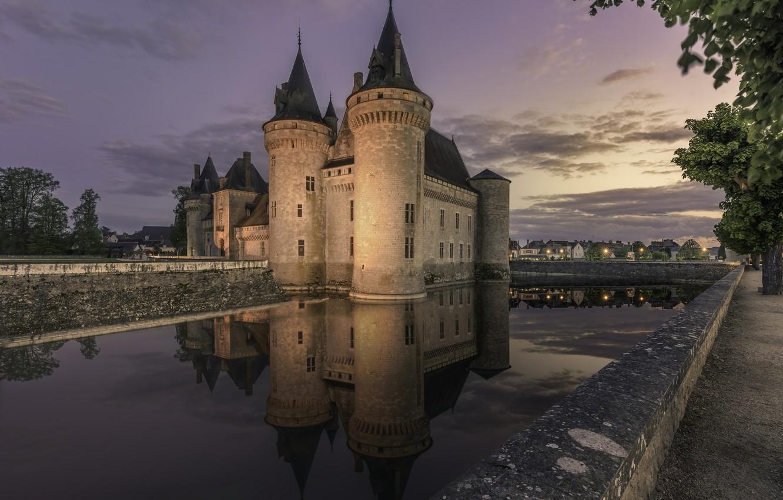 Photo wallpaper France, Castle, Reflection, Sully-sur-Loire