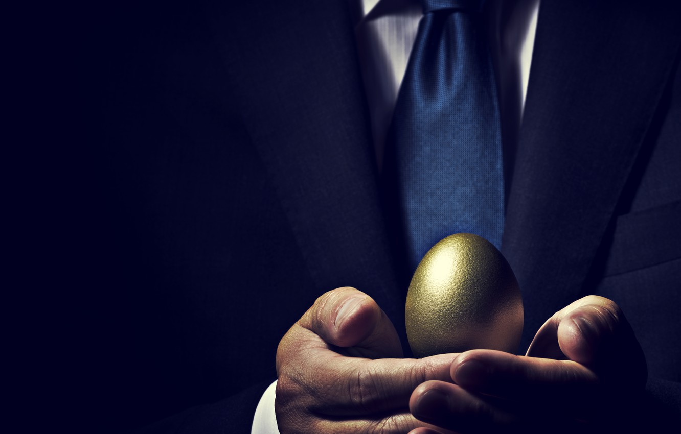 Photo wallpaper suit, business, golden eggs