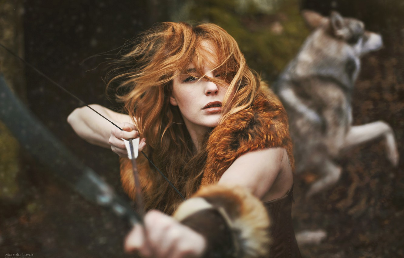 Photo wallpaper forest, wolf, redhead girl