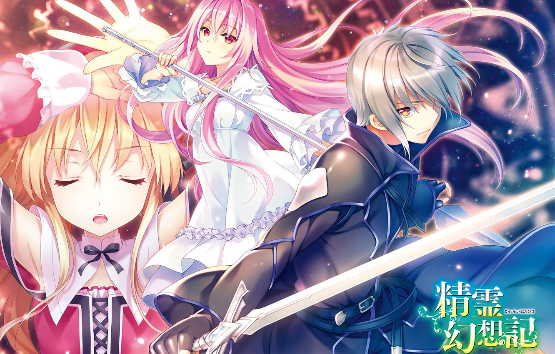 Wallpaper girls, sword, guy, characters, novel, Seirei