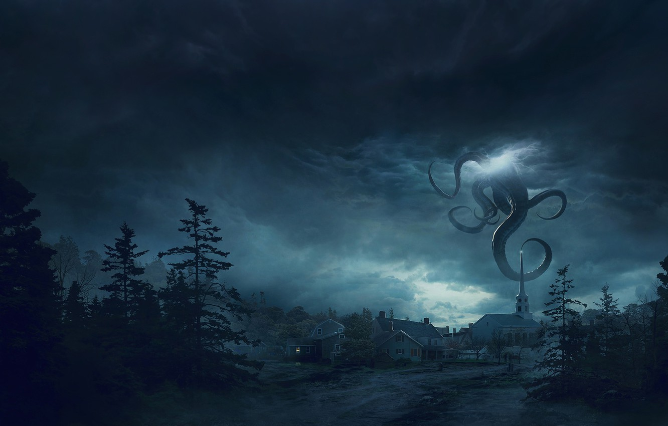 Photo wallpaper Night, The city, Forest, Monster, Clouds, The tentacles, Fantasy, Art, Lovecraft, Science Fiction, Guillem H. …