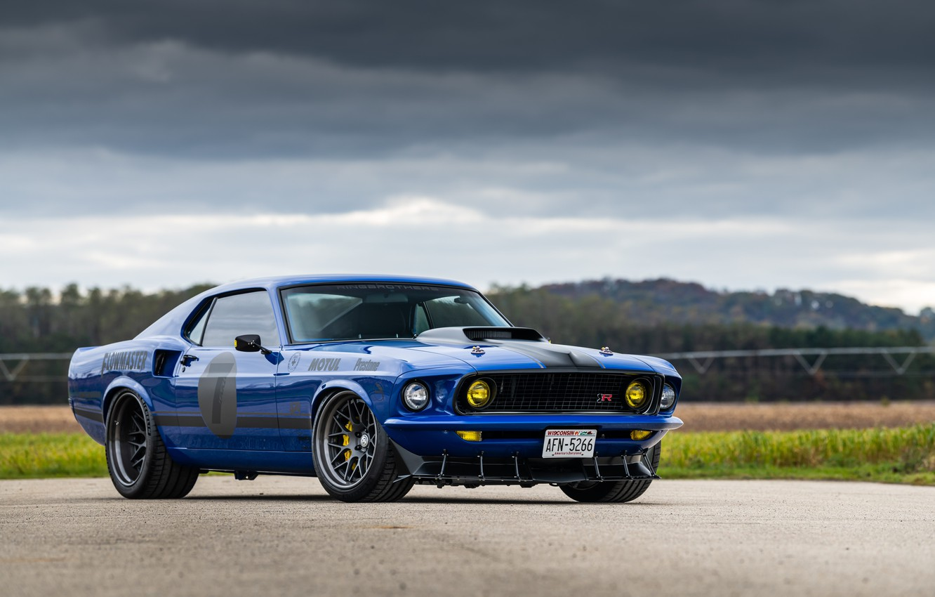 Photo wallpaper Ford, Road, 1969, Lights, Ford Mustang, Muscle car, Mach 1, Classic car, Sports car, HRE …