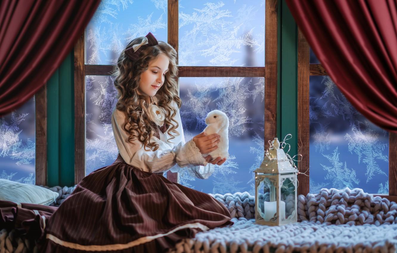 Photo wallpaper toy, rabbit, window, frost, girl, lantern, plaid, Bunny, bow, curls, on the windowsill, Диана Липкина