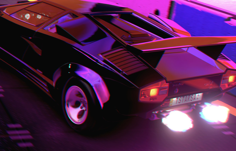 Photo wallpaper Music, Lamborghini, Fire, 80s, Neon, Countach, Rendering, Lamborghini Countach, 80's, Synth, Retrowave, Synthwave, New Retro …