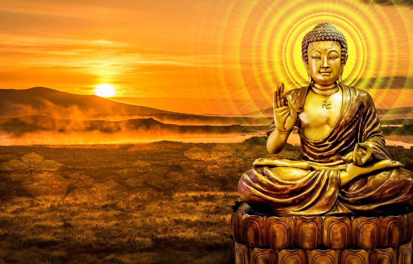 Photo wallpaper MOUNTAINS, STATUE, The SKY, The SUN, SUNSET, SIGNS, DAWN, RELIGION, CHARACTERS, FAITH, LIGHTS, БОЖЕСТВО, БУДДИЗМ