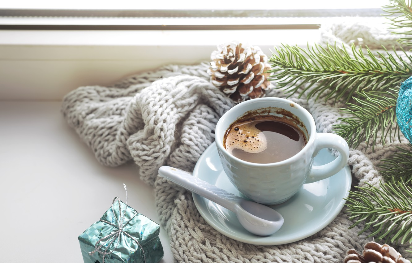 Photo wallpaper winter, decoration, New Year, Christmas, Christmas, winter, cup, window, New Year, coffee, decoration, a Cup …