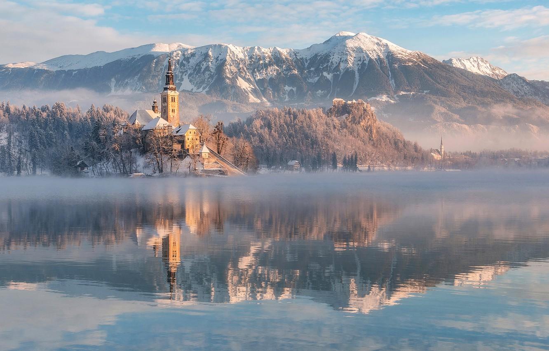 Photo wallpaper winter, mountains, lake, reflection, Church, Slovenia, Lake Bled, Slovenia, Lake bled, Bled, Assumption of Mary …