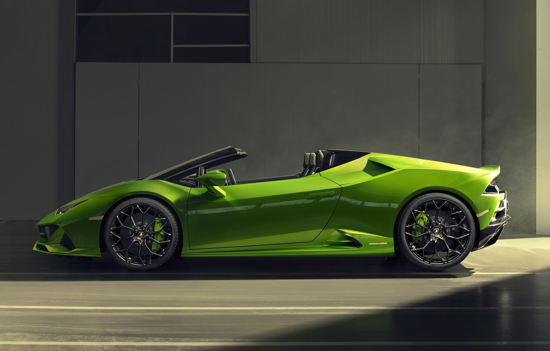 Photo wallpaper Lamborghini, side view, Spyder, Evo, Huracan, 2019, Lamborghini Huracan Evo