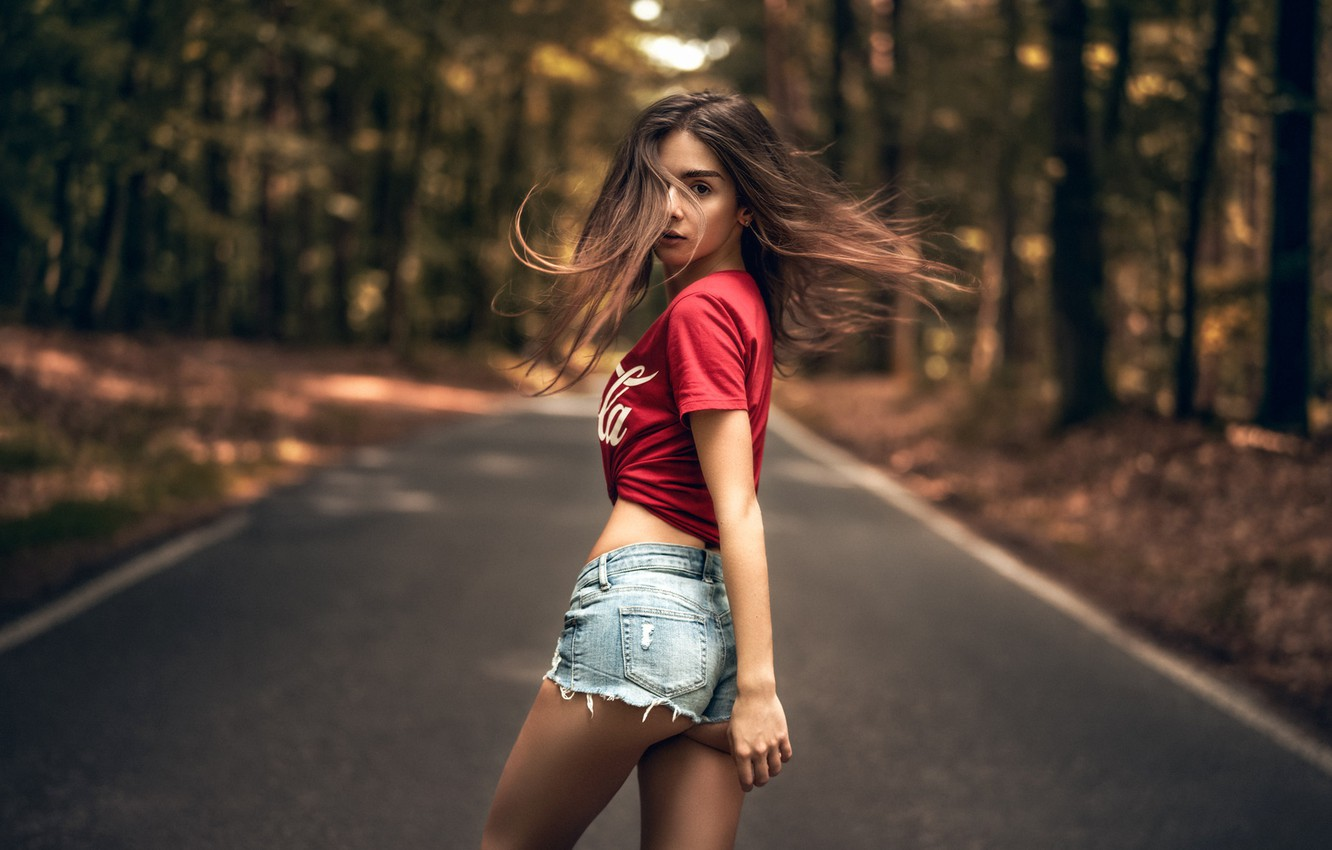 Photo wallpaper road, trees, pose, Park, model, shorts, portrait, makeup, Mike, figure, hairstyle, brown hair, is, ass, …