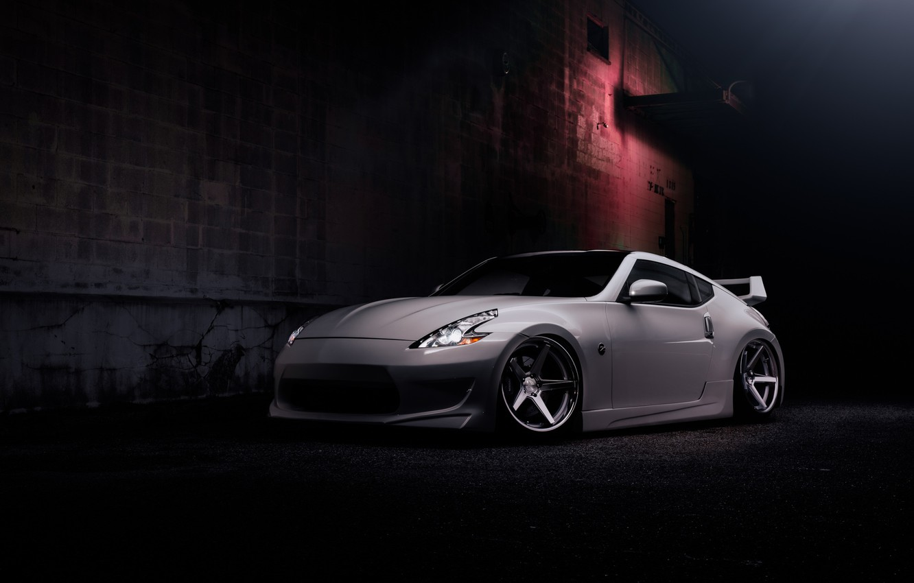 Photo wallpaper Wall, Machine, Light, The building, Nissan, Lights, Drives, 370Z, The Dark Background