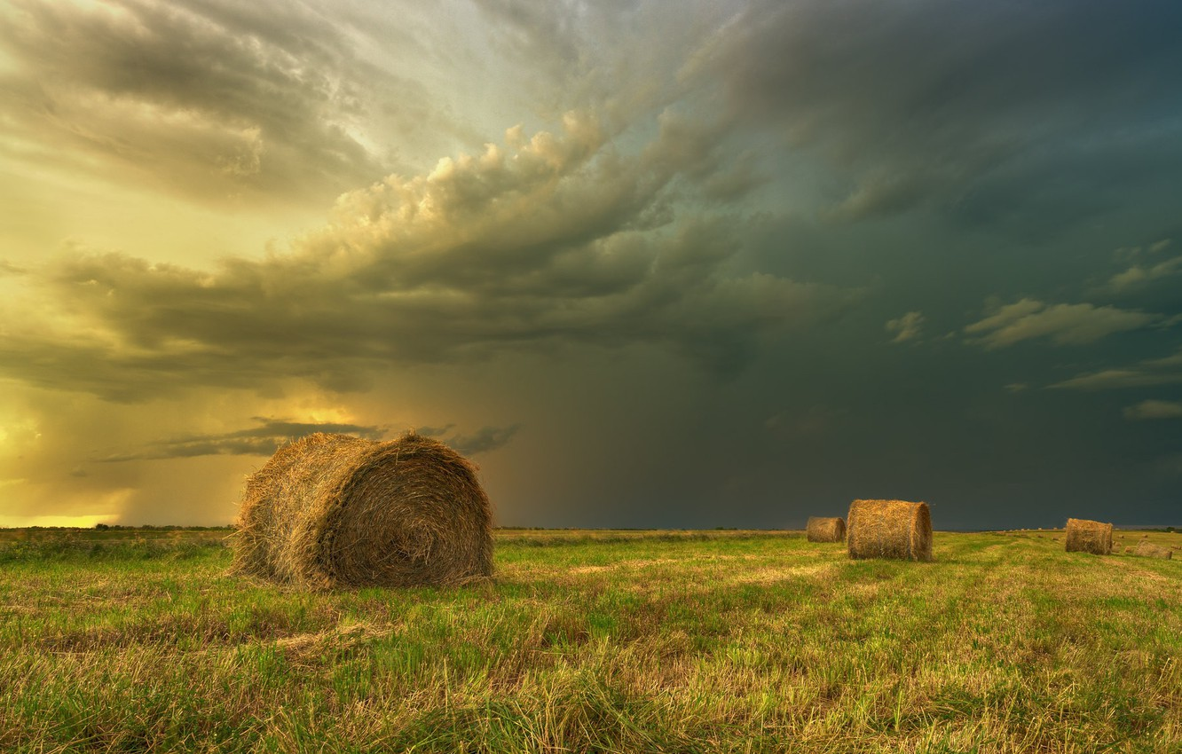 Photo wallpaper field, landscape, clouds, nature, beauty, hay, bales