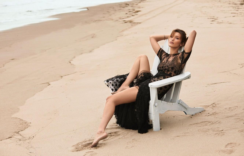 Photo wallpaper sand, beach, pose, model, Bella Hadid