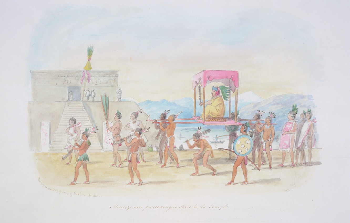 Photo wallpaper C.H.S Watercolors, Montezuma proceeding, in state to the temple