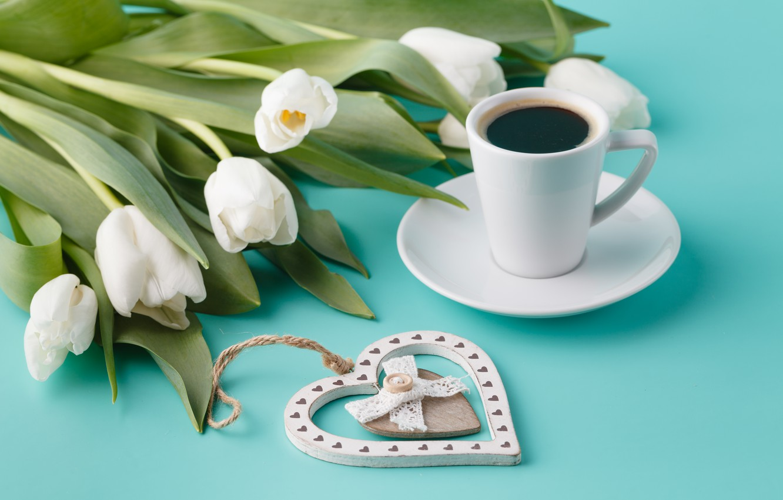 Photo wallpaper Cup, tulips, heart, Andrey N.Cherkasov