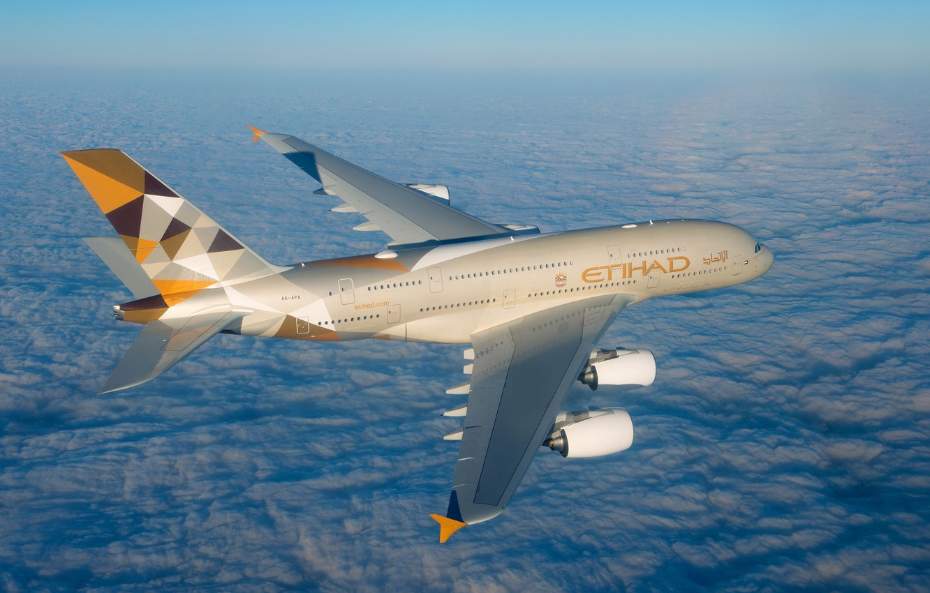 Photo wallpaper Clouds, A380, Airbus, Etihad Airways, Wing, Airbus A380, A passenger plane, Airbus A380-800