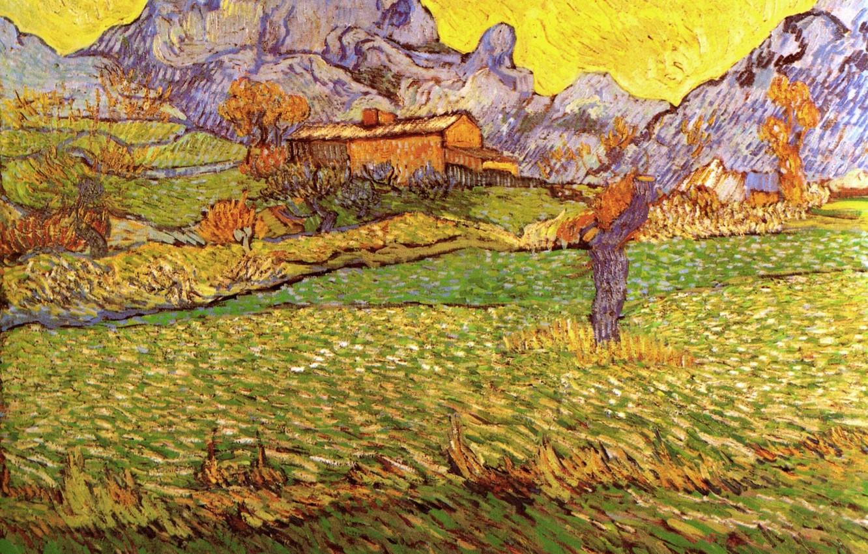 Photo wallpaper Vincent van Gogh, Saint Remy, A Meadow in the Mountains Le Mas de Saint-Paul