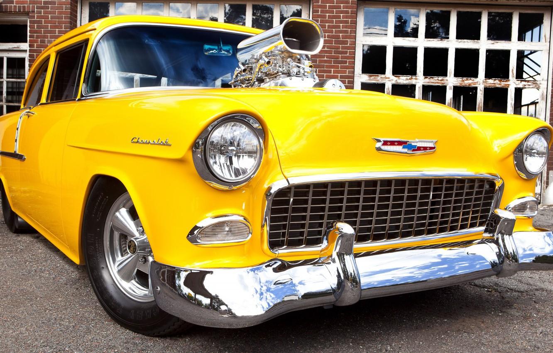 Photo wallpaper Chevrolet, Bel Air, Yellow, Modified