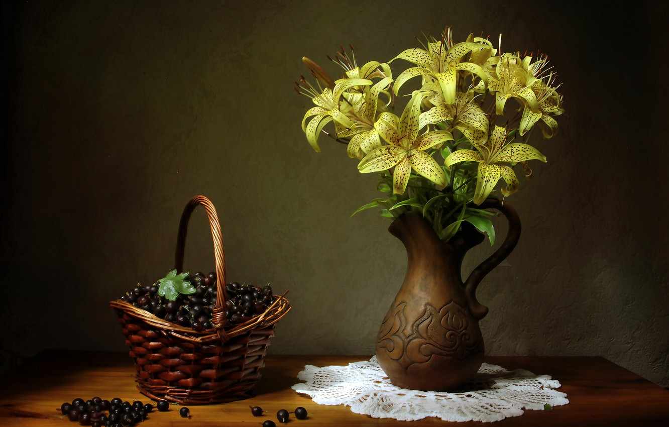 Photo wallpaper flowers, table, basket, Lily, berry, vase, still life, currants, yellow