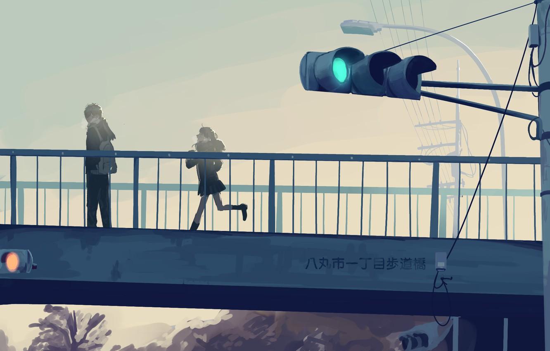 Photo wallpaper girl, bridge, traffic light, guy