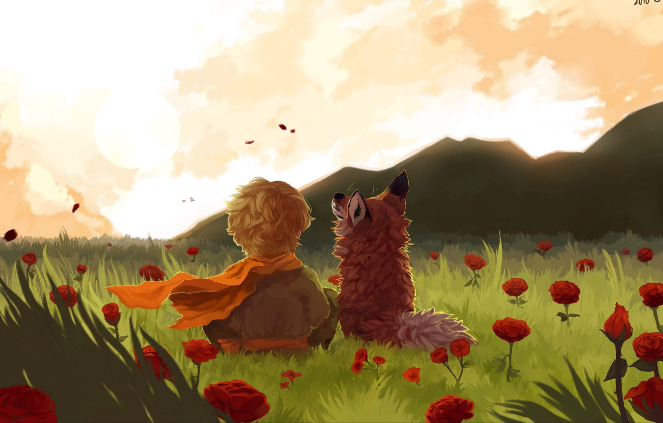 Photo wallpaper fox, field, landscape, art, flowers, mountains, painting, child