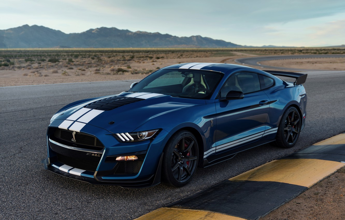 Wallpaper blue, Mustang, Ford, Shelby, GT500, track, 2019 ...