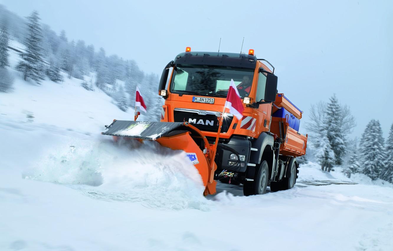 Photo wallpaper winter, snow, MAN Truck & Bus, TGS 18.360, road service