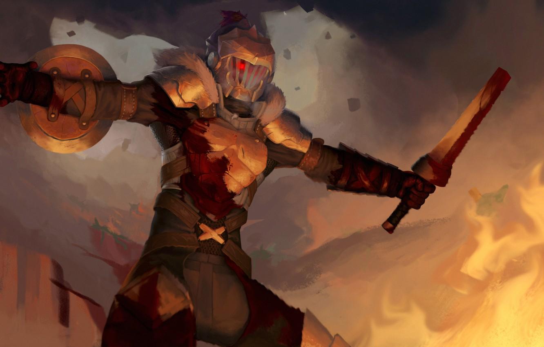 Photo wallpaper armor, helmet, shield, knight, Goblin Slayer