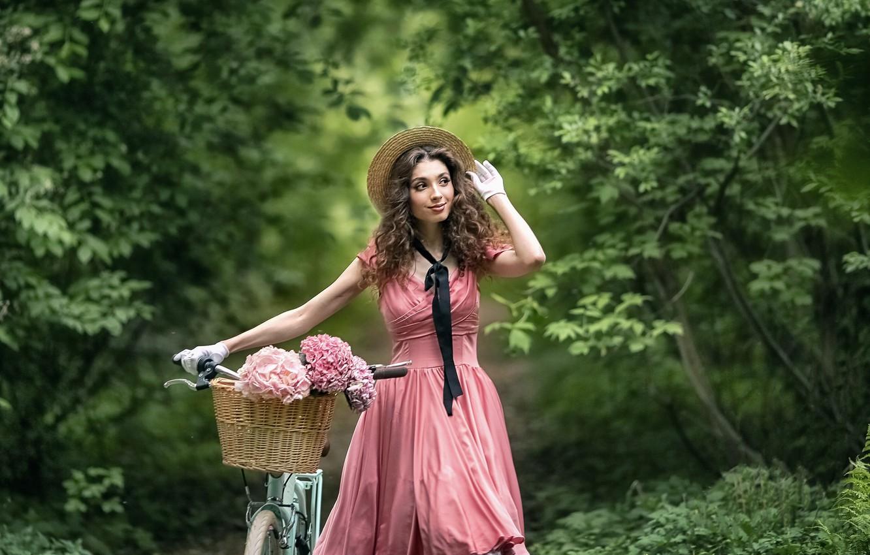 Photo wallpaper girl, flowers, nature, bike, pose, mood, basket, dress, gloves, hat, walk, curls, hydrangea, Anastasia Barmina, …