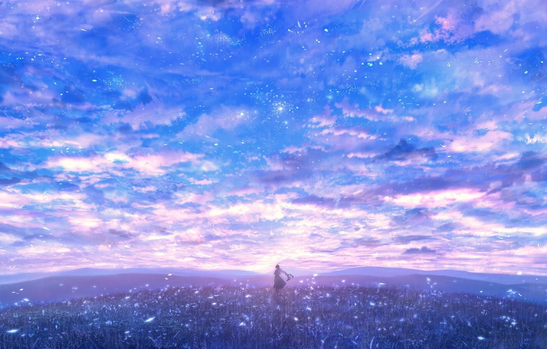 Photo wallpaper the sky, girl, glade