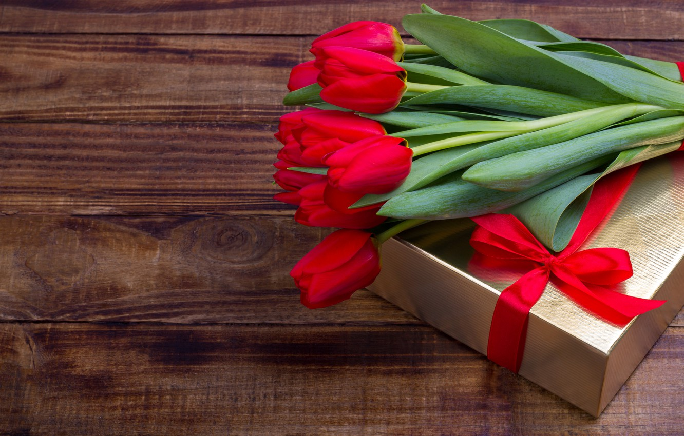 Photo wallpaper love, flowers, gift, bouquet, tape, tulips, red, red, love, flowers, romantic, tulips, valentine's day, gift …