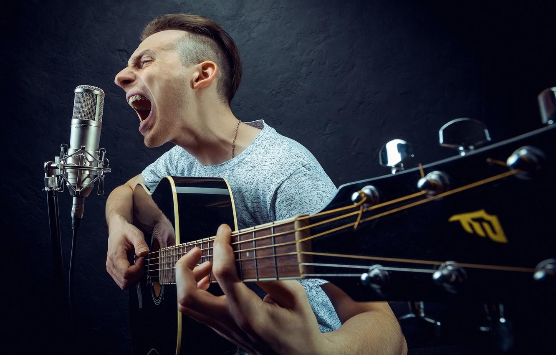 Photo wallpaper guitar, microphone, guy, roarer