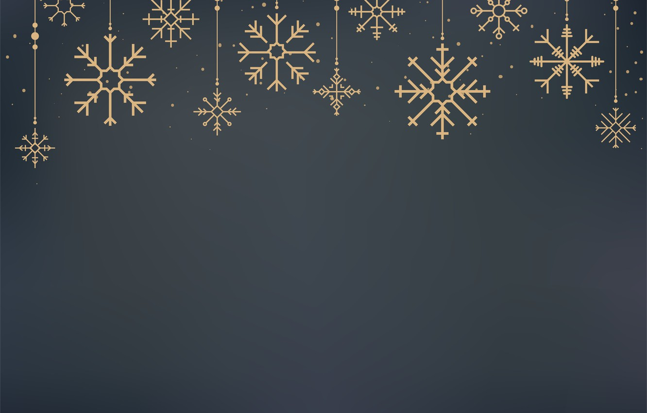 Wallpaper Winter Snowflakes Background Gold New Year