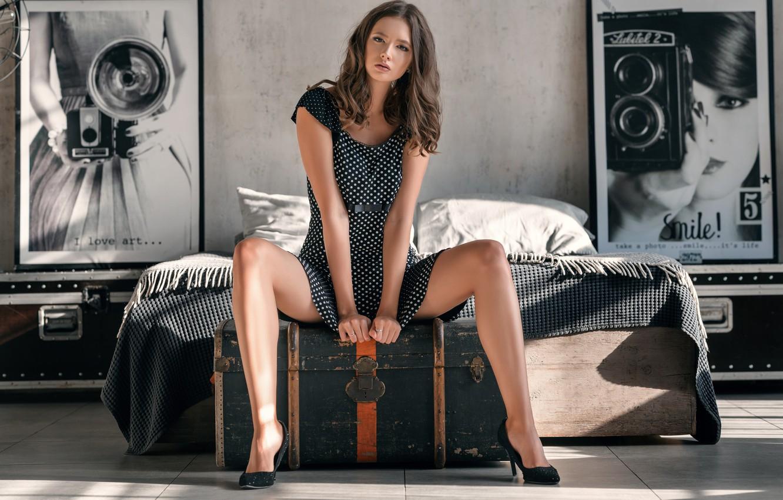 Photo wallpaper chest, look, pose, bed, Girl, interior, figure, dress, hairstyle, pictures, legs, Disha Shemetova, Sergei Vasiliev, …