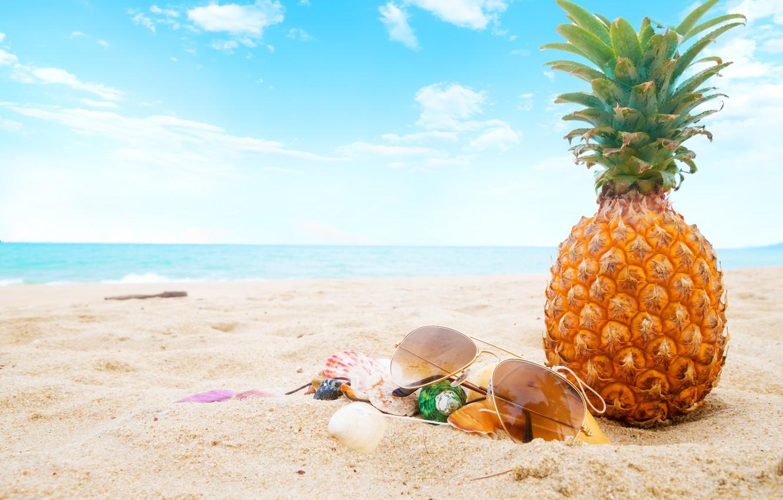 Photo wallpaper sand, sea, beach, summer, the sky, stay, glasses, shell, summer, pineapple, beach, vacation, sea, sand, ...