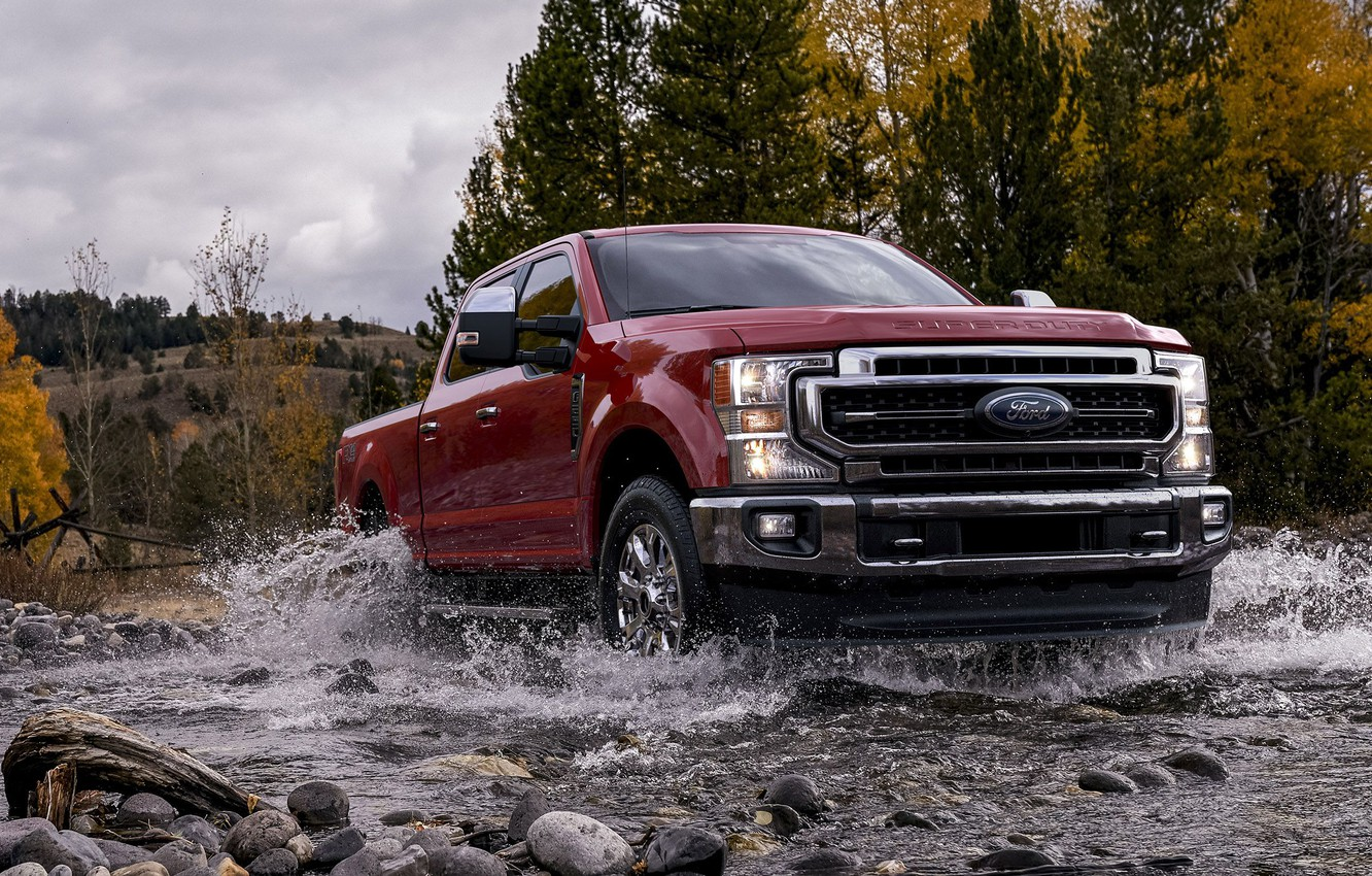 Photo wallpaper Red, Pickup, Ford F250, American Car