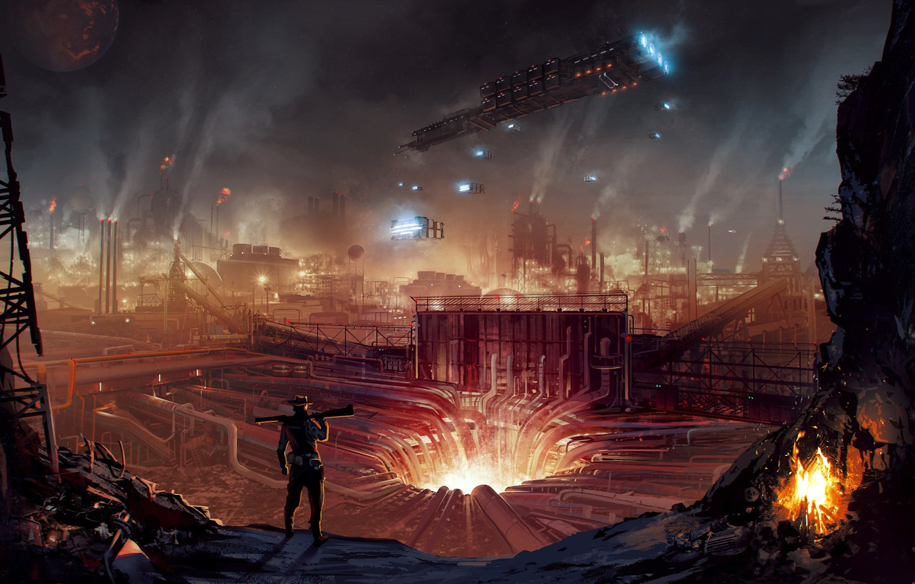 Photo wallpaper Concept, rendering, fiction, art, mine, development, Alex Monge, Industrial Hellhole, plate