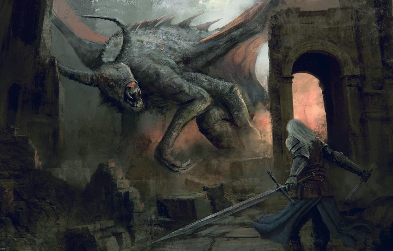 Photo wallpaper weapons, monster, warrior, fantasy, art, ruins, dark fantasy