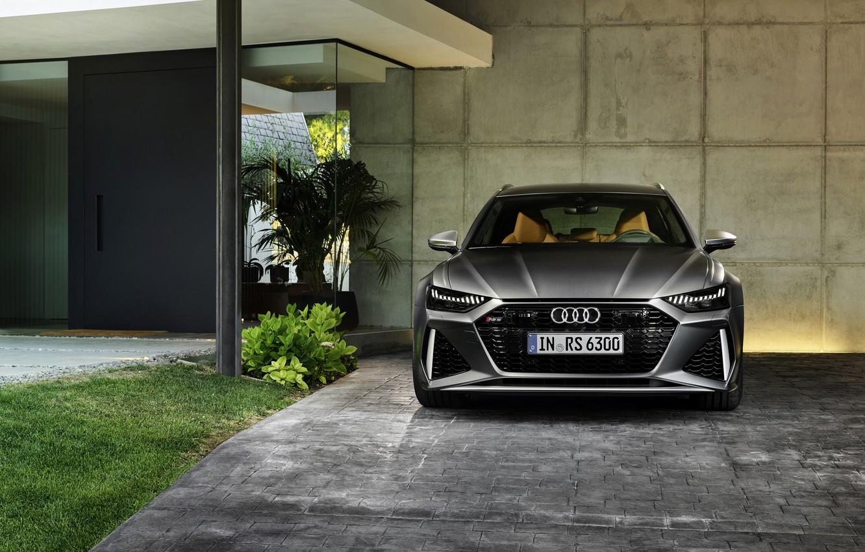 Photo wallpaper Audi, the wall, universal, RS 6, 2020, 2019, dark gray, V8 Twin-Turbo, RS6 Avant