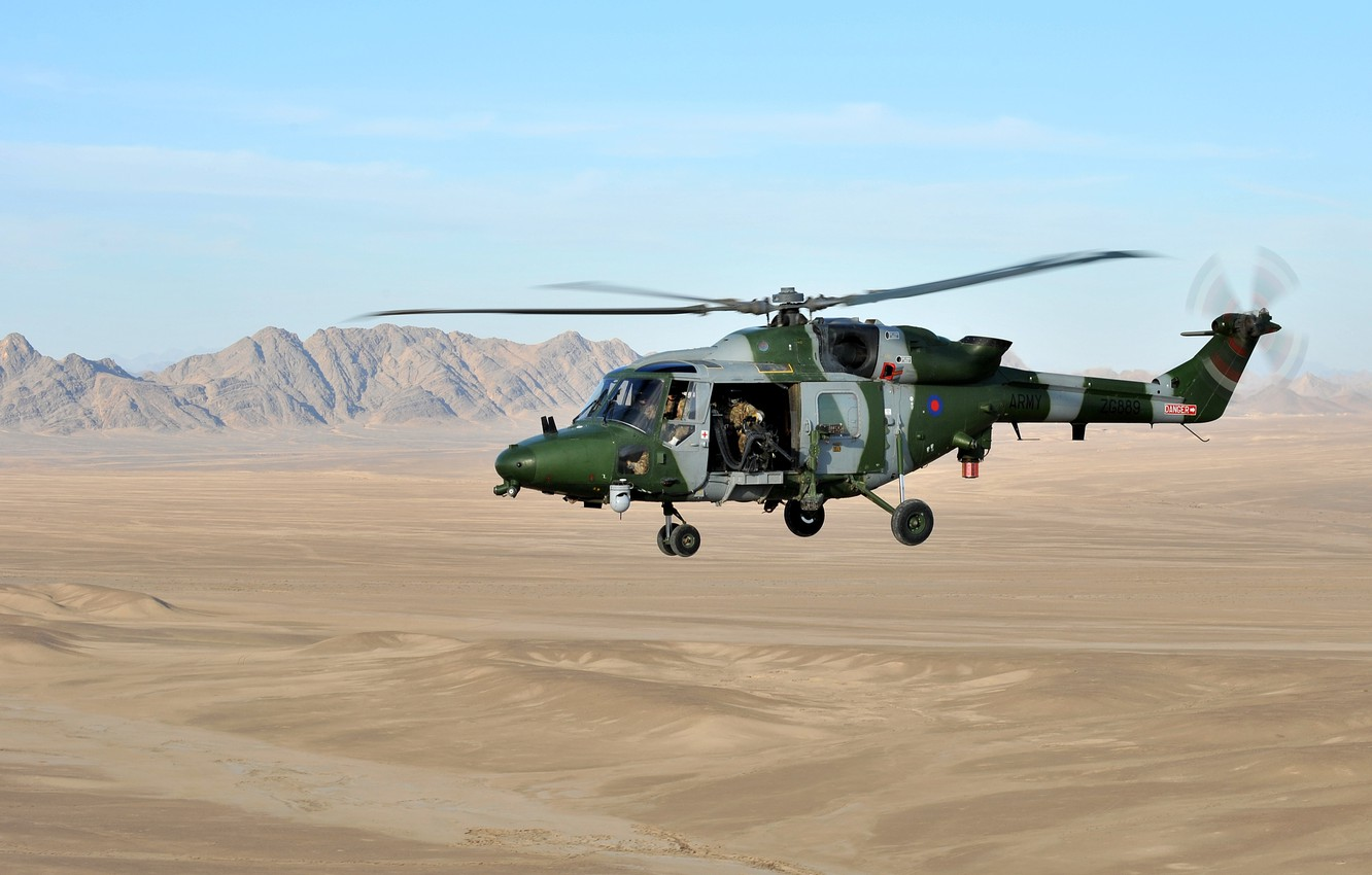 Photo wallpaper sand, mountains, helicopter, multipurpose, British Army, Westland, Lynx, Air Corps, gunner, Mk.9