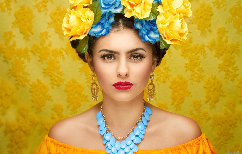 Photo wallpaper look, girl, flowers, face, style, background, portrait, earrings, makeup, neckline, shoulders, necklace
