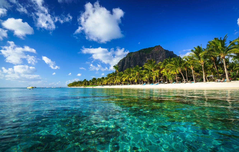 Photo wallpaper rock, palm trees, the ocean, coast, boats, The Indian ocean, Mauritius, Mauritius, Indian Ocean, Le …