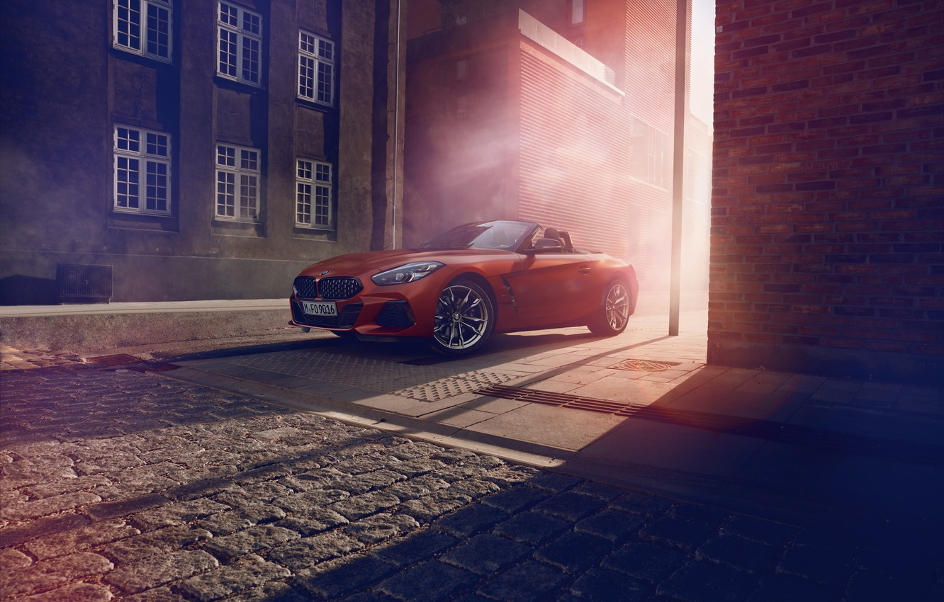 Photo wallpaper light, red, street, home, pavers, BMW, Roadster, BMW Z4, First Edition, M40i, Z4, 2019, G29