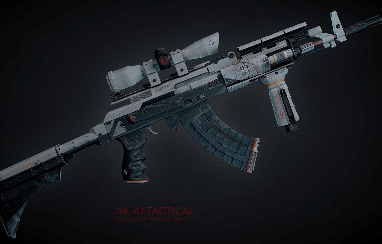 Photo wallpaper rendering, weapons, tuning, gun, weapon, render, custom, Kalashnikov, assault rifle, assault Rifle, 7.62, Kalashnikov, AKM, ...