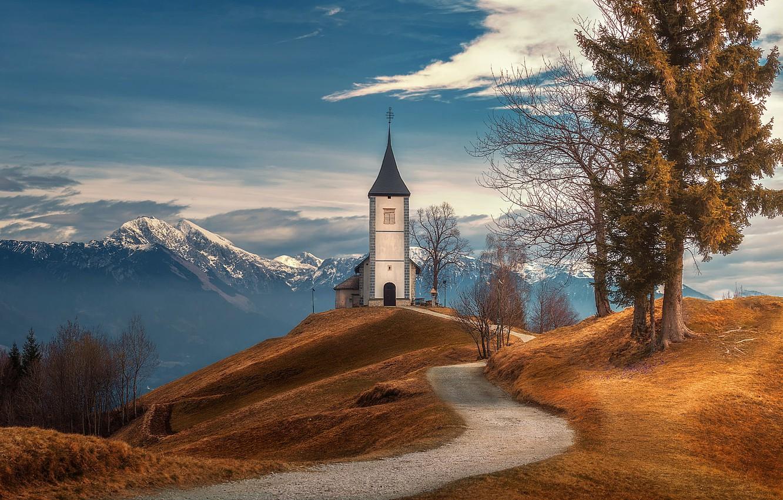 Photo wallpaper road, trees, mountains, Church