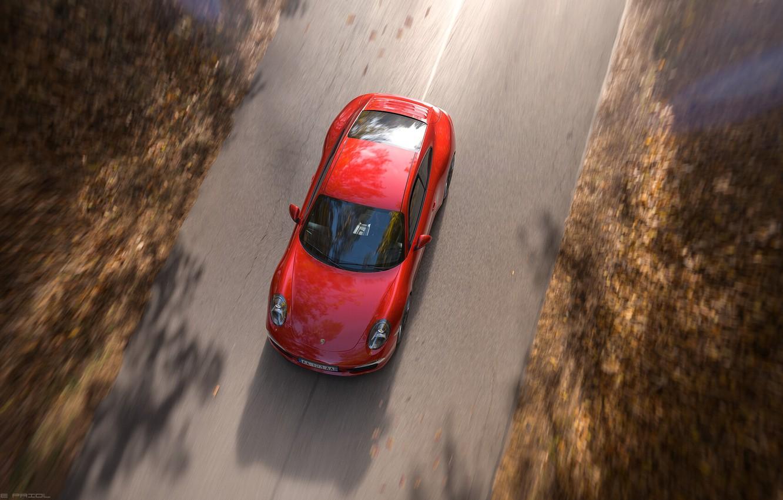 Photo wallpaper Red, Auto, Road, Porsche, Machine, Red, Carrera, Rendering, Sports car, Porsche 911 Carrera, Transport & …