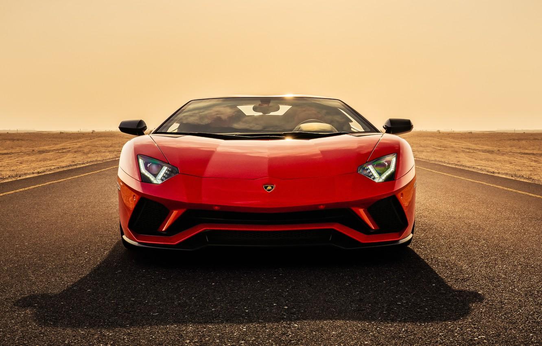 Photo wallpaper Roadster, Lamborghini, supercar, front view, Aventador, Aventador S, 2019